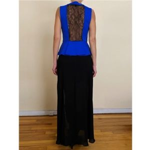 THEORY BLOUSE PEPLUM SHELL IN BLUE-BLACK SIZE M